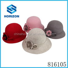 Wholesale Custom Wool Felt Bucket Hat Cloche Hat With custom logo