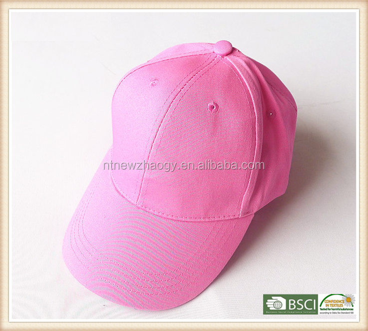 Wholesale cheap plain dyed six panles sport cap for girl