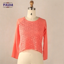 Coral baby girls top design women fashion wrap blouse uniform blouses sexy western tops ladies with lace frontal