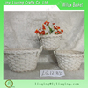 Set of 3 round small grey Wicker baskets with plastic liner /Small flower pot/Wicker garden basket