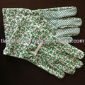 Knit wrist canvas with pvc dots gardening gloves