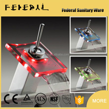 LB-A6 artistic China factory LED glass fancy square pyramidal shape bathroom faucet