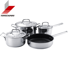 The Best Stainless steel lid glass best choice for your kitchen 3pcs enamel strait pot sets with glass lid hot sale on line