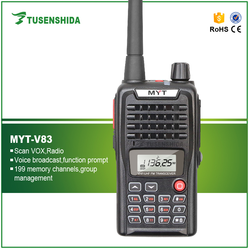 MYT-V83 5W uhf vhf walkie talkie with FM radio transmitter walkie talkie