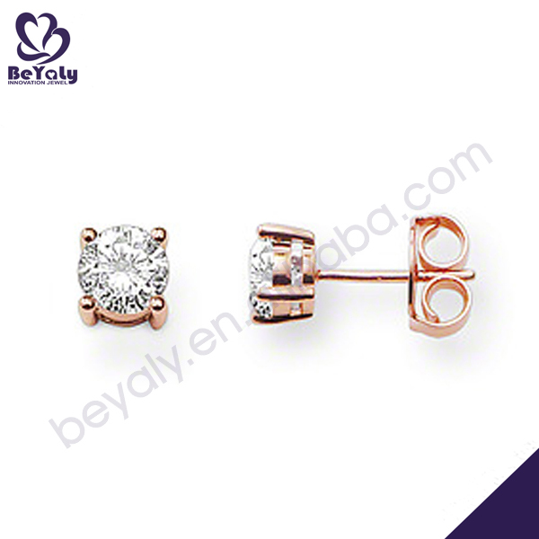 Rose gold plating clear stone silver draped chain earrings