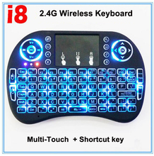 Free shippping i8 2.4g mini wireless keyboard TouchPad fly Mouse Backlit Gaming Keyboard For Android tv box