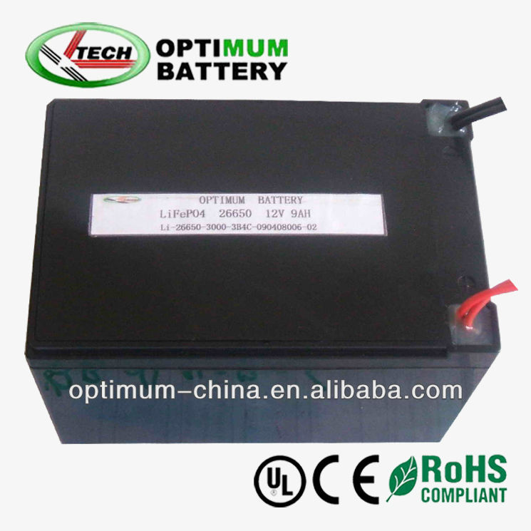 Small rechargeable lifepo4 battery 12V 9Ah