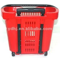 Telescopic Handle Plastic Shopping Trolley Basket With Tow Wheels
