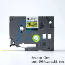 Compatible TZe p-touch label tape cassete 9mm ribbon cartridge black on yellow TZe-621