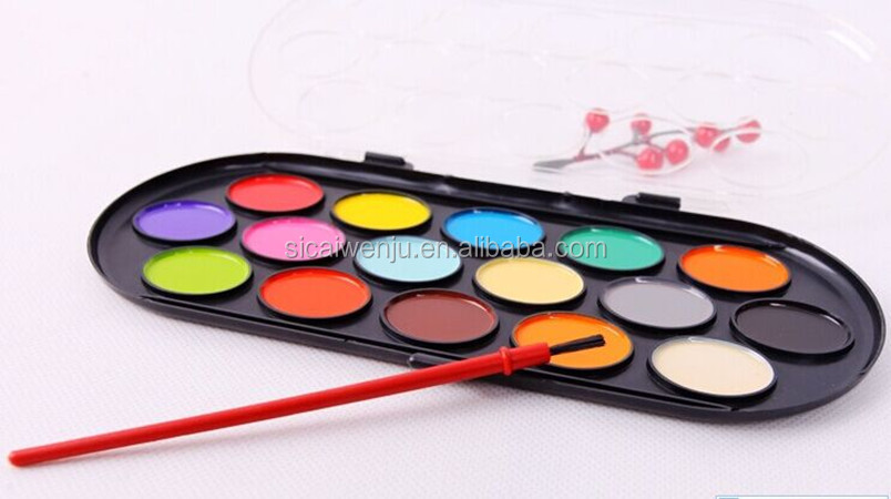 Eco - friendly 16colors semi dry watercolor artist paint coloring water sets with brush