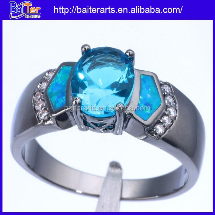 Custom Black Rhodium Plating 925 Sterling Silver Ring Fire Opal Blue Topaz Wedding Rings Jewelry