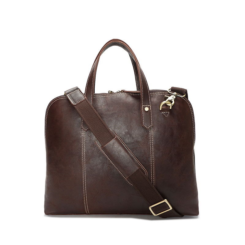 G-Favor YD-8096 Unisex Coffee, Brown Handmade Genuine Leather Bag Business Bag 14inch Laptop Bag Briefcase
