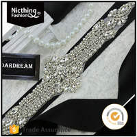 2016 fashion design bling bling long bridal beaded applique wholesale rhinestone appliques for wedding belt NRA092