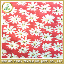 100% cotton white daisy red ground pattern Printed fabric