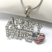 Crystal army wife and american flag pendant necklace