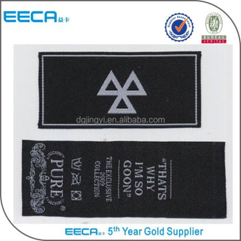 Factory price custom design woven labels for clothes wholesale in DongGuan