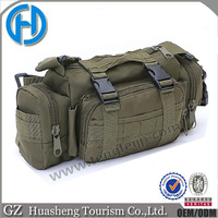 Army green tactical shoulder bag with molle system