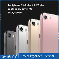 Factory price MOQ=50pcs free sample slim crystal clear soft TPU phone case for iphone 6s 7 cover