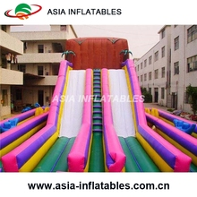 2017 Giant Inflatable Double Slide Zip Line ,Zip Line Inflatable Game For Outdoor Game