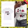 Custom summer funny floral pattern letter printed tees casual short sleeve white t shirts wholesale china
