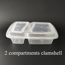 2 compartments rectangular Disposable Different Sizes Dinner Type Food Use PP Food Plastic Bowls