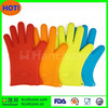 FDA Grade Flexible Heat Resistant Bbq Silicone Gloves Silicone Micro Oven Mitt With Five Fingers