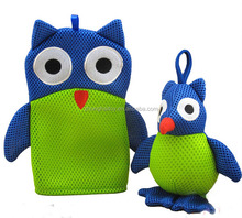 Bath Brushes Sponge Scrubbers Mesh Material exfoliating bath gloves Owl Animal