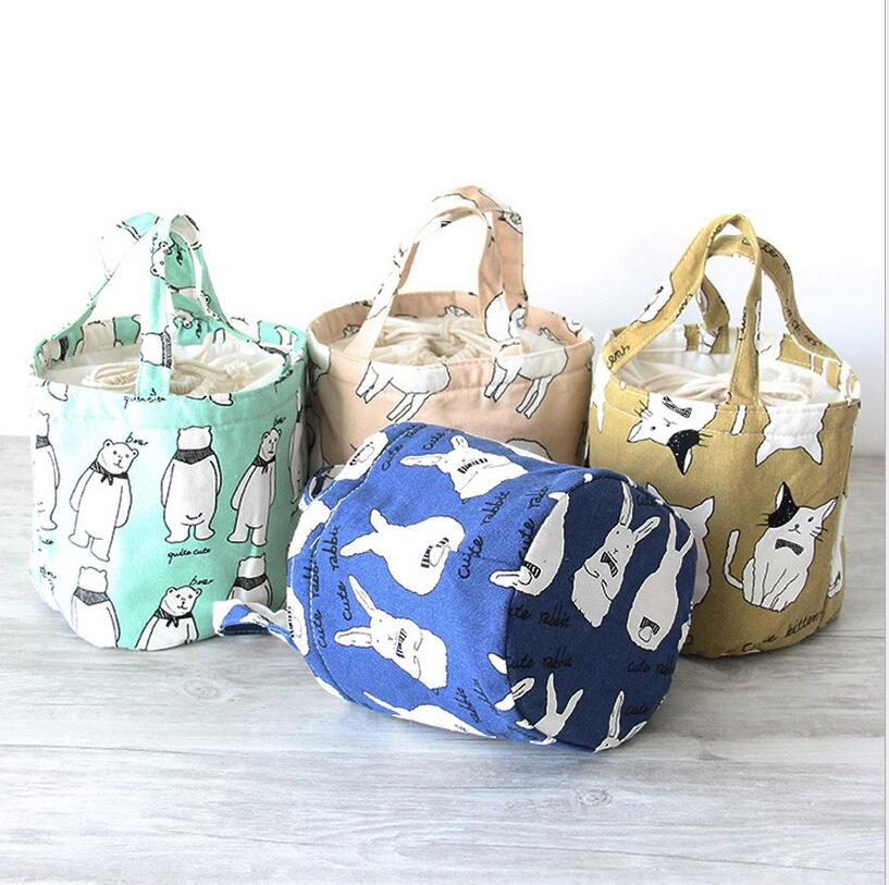 DM 741 cotton linen cartoon and geometric pattern floral print bucket food bag isothermic Insulated sack lunch tote