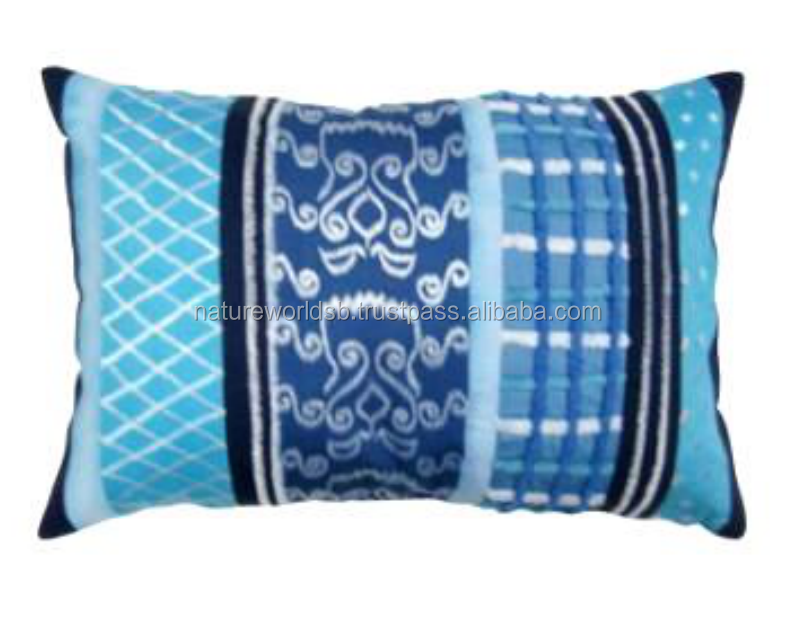 Blue Tonal fabric Patched and Embroidered Cushion Cover