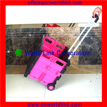 2 Wheel Plastic Foldable Supermarket Shopping Leisure Cart