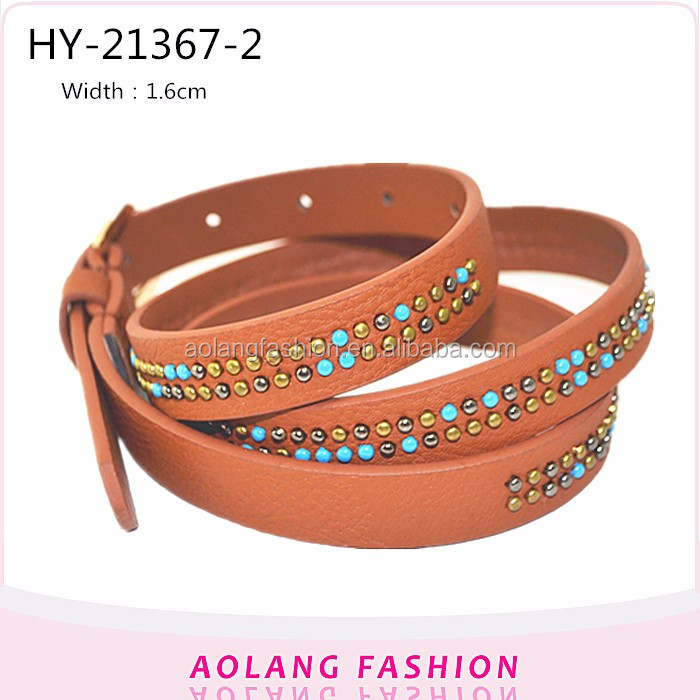 Flush rivet washed bead casual ladies fashion Pu waist belt