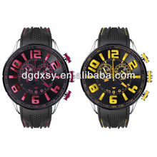 Mens Sport Rose Red/ Yellow Dial Black Rubber Band Watch