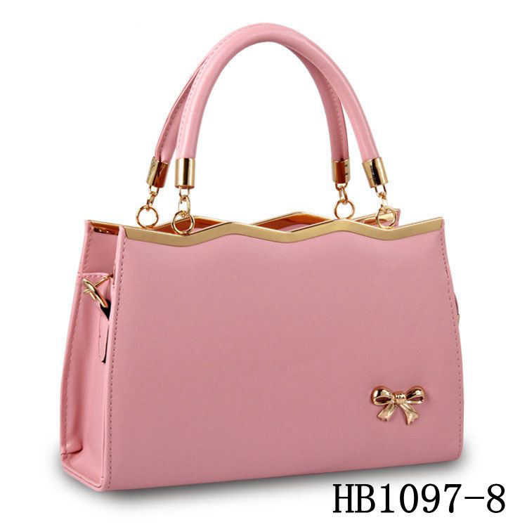 2017 Latest Girl's Hand Bag Pure Color Pink Pu Leather Designer Bowknot <strong>Handbags</strong>