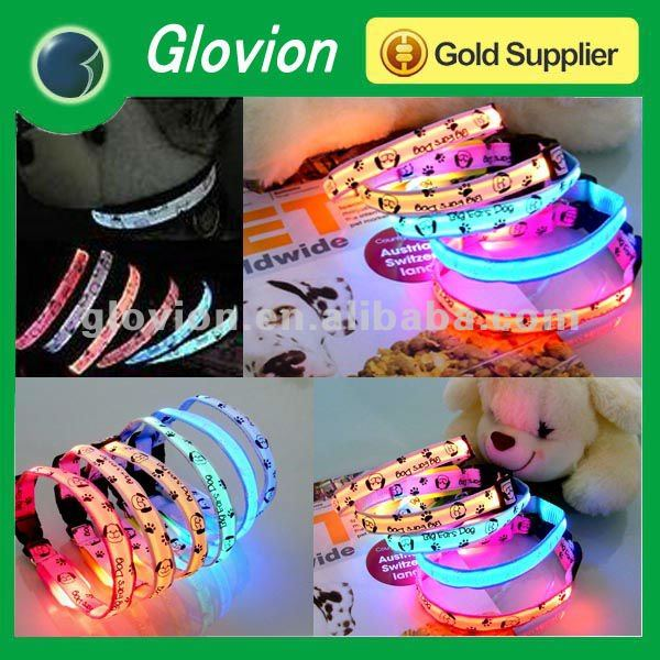 NEW design colorful nylon dog collar/led dog collar/rolled leather dog collar