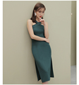 Sexy ladies hang a neck dress bodycon side open slipe sleeves summer prom wear for girls