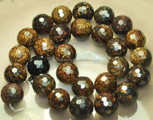 12mm round faceted natural bronzite beads china jewelry beads
