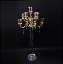 decorative candles wholesale 9 arms table tea light crystal candelabra centerpieces gold