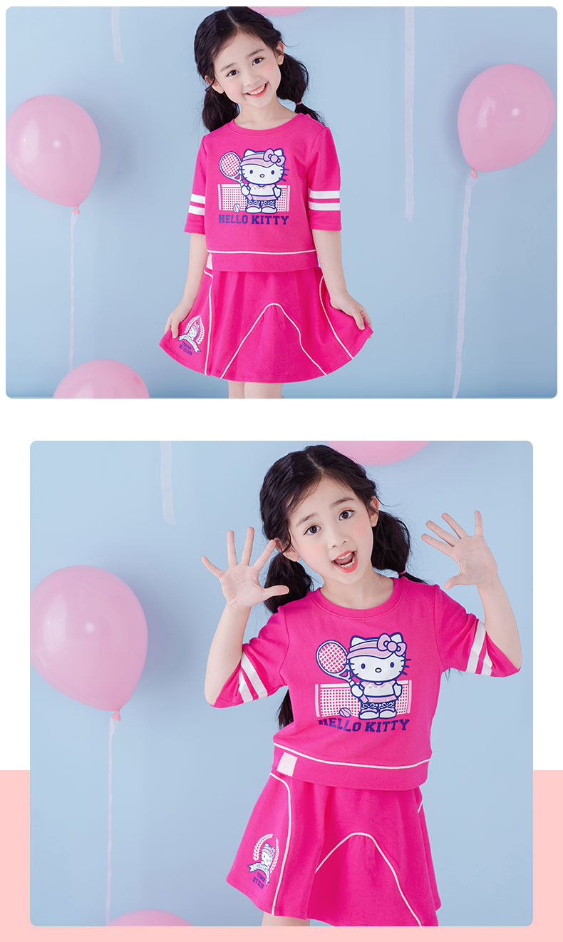 Hello Kitty pattern girls summer short sleeve tops and pants two piece sets
