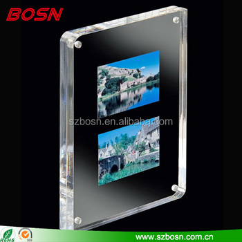 Crystal clear high quality magnetic acrylic photo frame