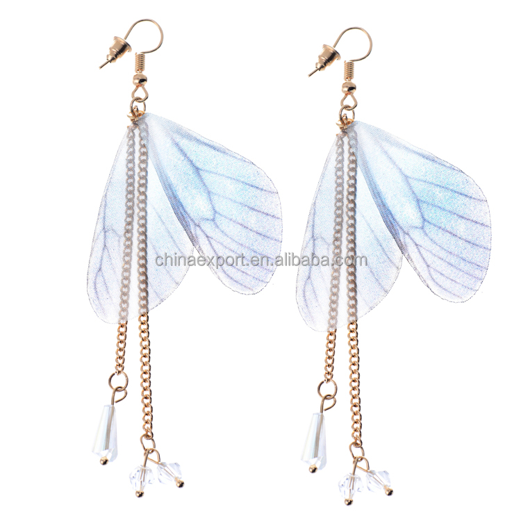 Fashion jewelry 2017 female translucent cloth butterfly wings earrings