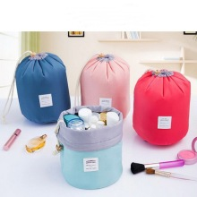 Waterproof cylinder nylon cosmetic makeup bag,draw string receive barrels travel toiletry bags