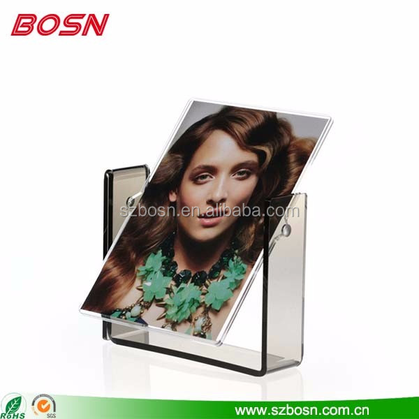 Clear acrylic home picture frame lucite perspex rotate photo stand for counter