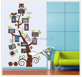 Vinyl Adhesive Home Decor Kids Room Tree Wall Sticker with Photo Frame Owl Wall Sticker