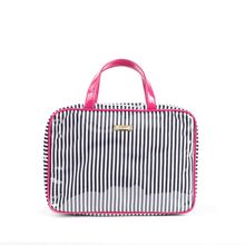 Stripe custom cosmetic bag see through toiletry bag clear vinyl rectangular travel cosmetic bag