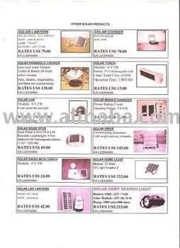 PRICE LIST OF SOLAR PRODUCTS