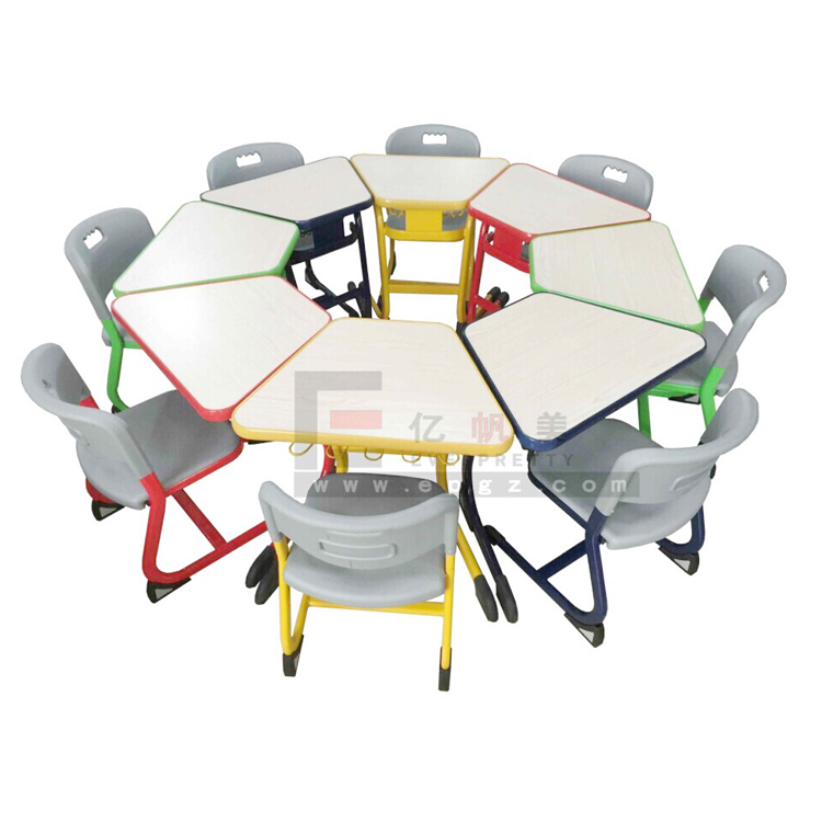 Everpretty education wooden metal tables and chairs students classroom table and chair children school furniture
