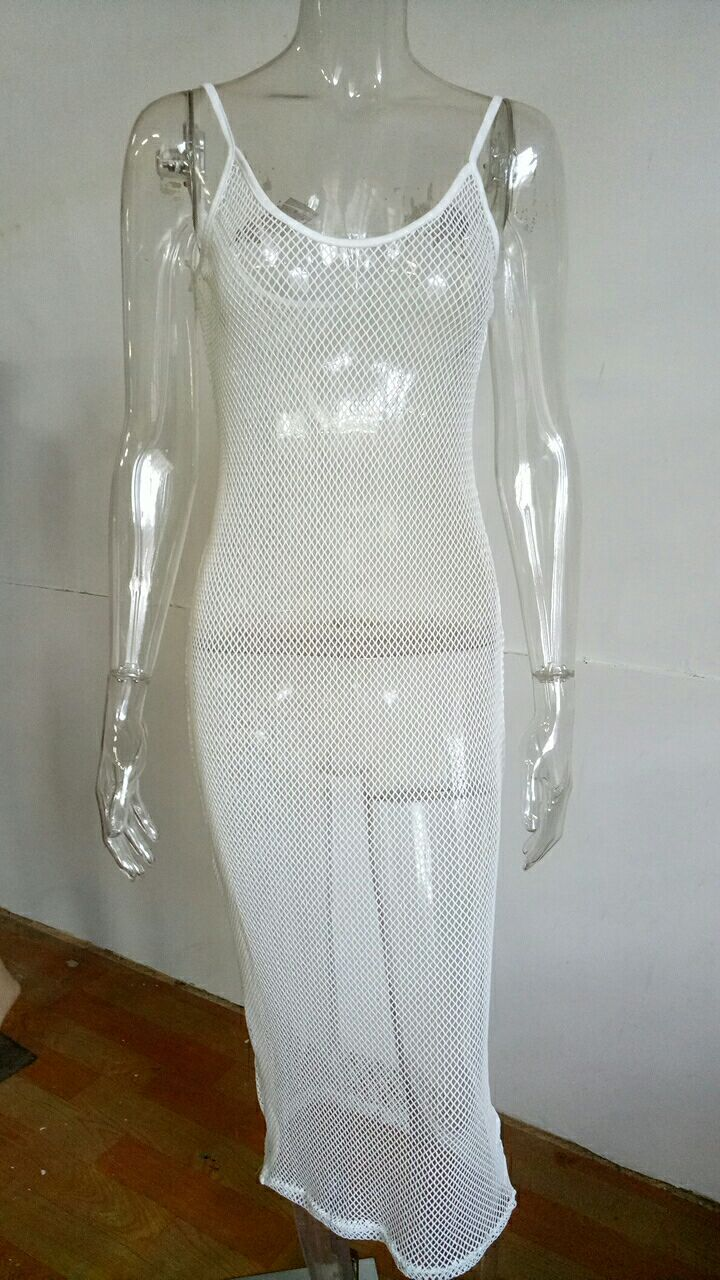 2018 Women white sexy see through fishnet bodycon pencil club dresses