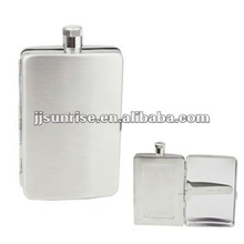 stainless steel hip flask with cigarette case