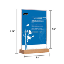 Double Sided Poster Holder Stand Wood Bottom Acrylic Price Menu Display A4/A5 Wood Base Acrylic Sign Holder