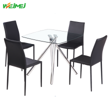tempered glass corner dining table and chair sets